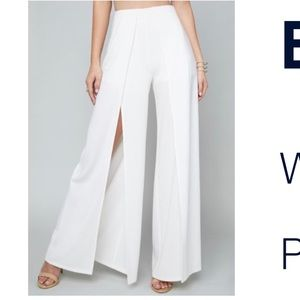 ALICE + OLIVIA White wide leg pants with slit